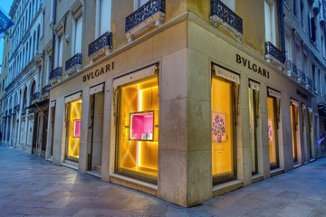 Venice, Italy - October 15, 2019: Facade of BVLGARI store on Venice, Italy. A BVLGARI jewelry watch and fashion outlet. Bulgari was founded in Rome in 1884 as a jewelry store.