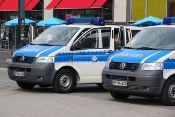 BERLIN, GERMANY - AUGUST 26, 2014: Police cars wait in Berlin. Federal Police (Bundespolizei) of Germany has 30,000 officers.