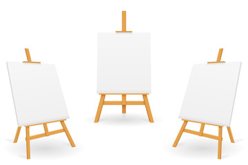 wooden easel for painting and drawing with a blank sheet of paper template for design vector illustration