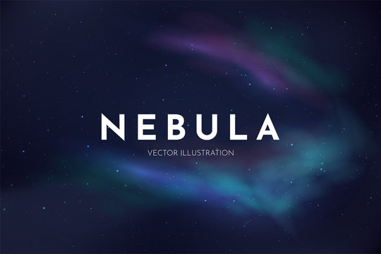 Vector realistic illustration. Night cosmic sky. Wallpaper. Nebula in space. Template for website or game. Abstract banner. Dark starry background. Milky Way. Minimalistic style. Copy space for text