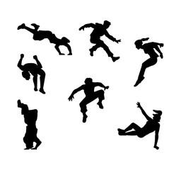 Black parkour people silhouette set - flat cartoon outline collection