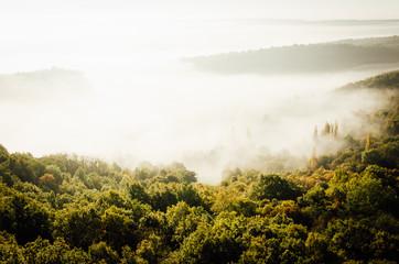 Papiers peints Blanc paysage de Saint-Romain en côte-d'Or dans le brouillard et la brume
