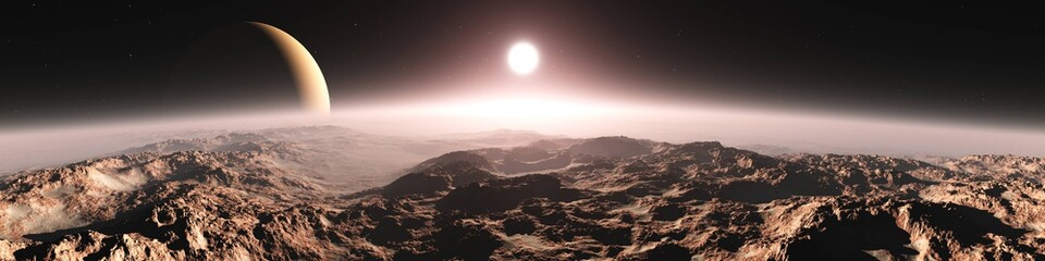Photo sur Aluminium Marron chocolat Panorama of an alien landscape. Sunset on Mars. Alien sunset. 3d rendering.