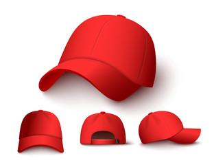 Bright red baseball cap mock up set from different angles