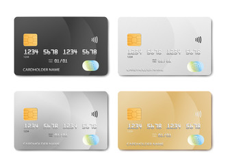Plastic bank card design template set - isolated credit or debit cards mockup