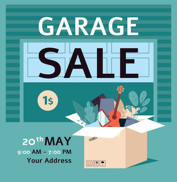 Garage sale ad poster template with flat cartoon box full of stuff