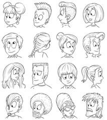 Menschen mit verschiedenen Frisuren - Vektor-Illustration