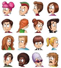 Menschen mit verschiedenen Frisuren - Illustration