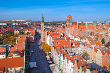 Aerial view of the old town in Gdansk with beautiful architecture, Poland