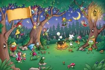Niedliche Kobolde im Wald - Illustration