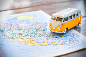 USA on the road trip planning with hippie van
