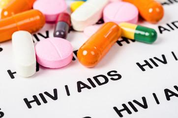 Obraz Pills on Hiv / aids concept. - fototapety do salonu