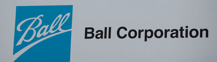 The logo of Ball Corporation is displayed at their plant in Wakefield