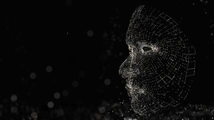 Human face consisting of luminous lines and dots