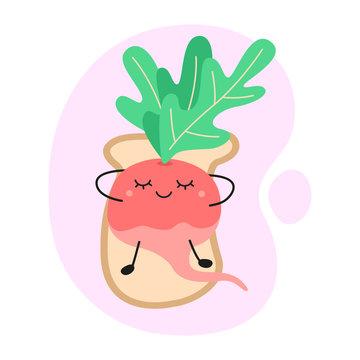 cute radish lies on toast. kawaii radish