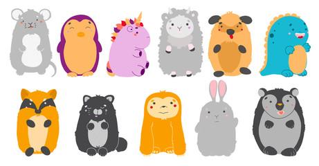 Kawaii animals set. Vector illustration of cute animals.