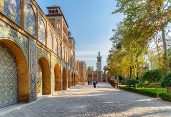 Beautiful view of courtyard and garden at the Golestan Palace