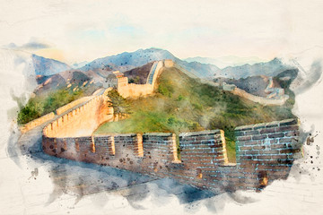 The Great Wall of China with distant mountains and blue sky - image