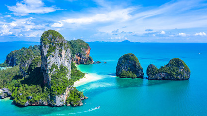 Aerial view Railay Beach and Phra Nang Cave Beach in beautiful bay in Krabi province, tropical coast with paradise beache, Krabi, Thailand.