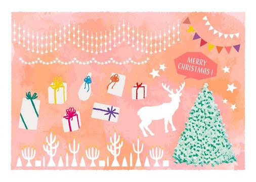 大人っぽいクリスマスイラストセット クリスマスツリー トナカイ プレゼント オーナメント キャンドル