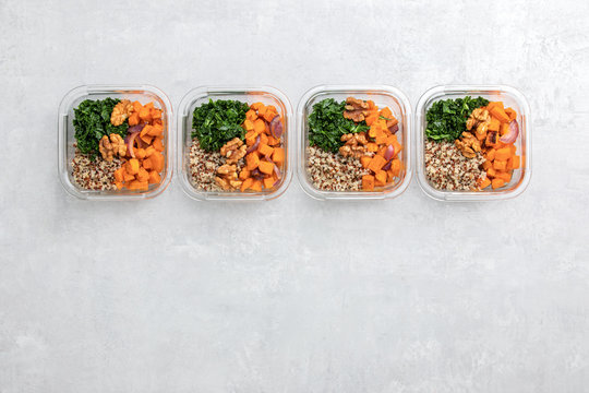 Sauteed kale, quinoa and roasted sweet potato lunch box bowl