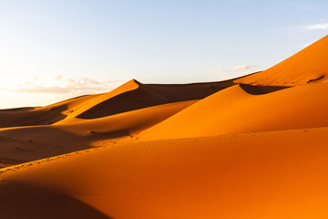 Foto auf AluDibond Rot kubanischen Scenic view of dunes with footsteps in Sahara desert against sky