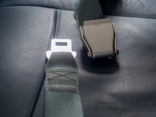 Safety seat belts on airplane chairs, Transportation and vehicle concept