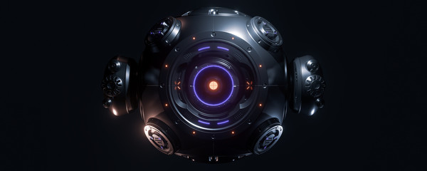 Abstract concept of sci-fi sphere cyborg robot. Background for cyber crypto security. 3d illustration