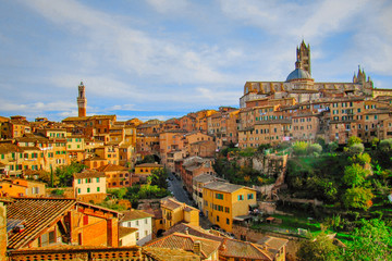 Panorama of old town in Siena, Italy
