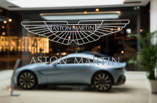 Aston Martin showroom in Beijing China with new Vantage car on display