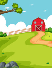 Barn and farm in a field