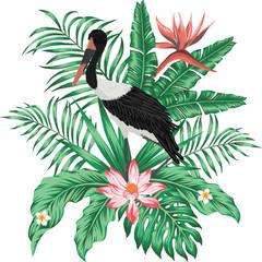 Wall Mural - Exotic print realistic vector stork leaves flowers