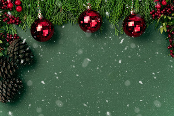 christmas tree with red balls Wall mural