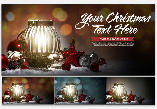 Winter Holiday Scene Text Mockup with Lantern