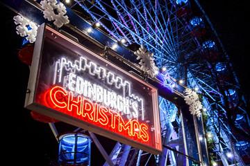 Edinburgh, Scotland - January 2019: Edinburgh's Christmas market sign