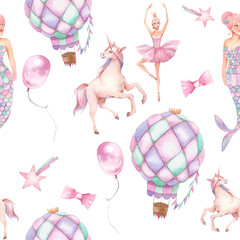 Watercolor seamless pattern with hot air balloon, mermaid and stars. Hand drawn vintage texture with unicorn, hot air balloon, flag garlands, ballerina doll and stars.