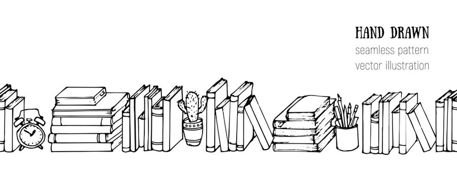 Doodle horizontal seamless vector pattern. Hand drawn Books, Notebooks, Notepads and Diaries. Sketch Stack of books. Office stuff, student desk. Cartoon style illustration. School, college elements.