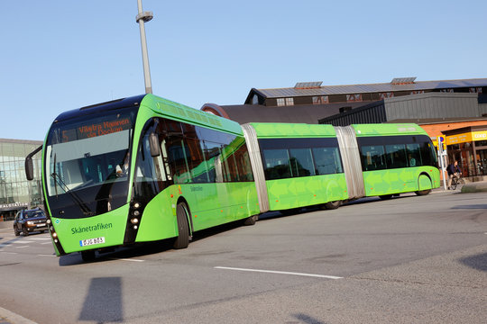 Malmo, Sweden - August 23, 2017: A double articulated bus brand and type  Van Hool 324H Exequicity 24 Hybrid in service for Skanetrafiken public transportation on line 5 in Malmo operated by Nobina.