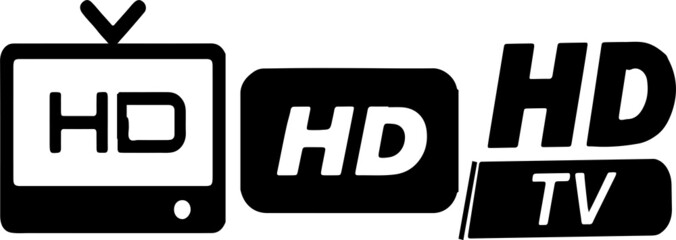HD TV icon set isolated on background