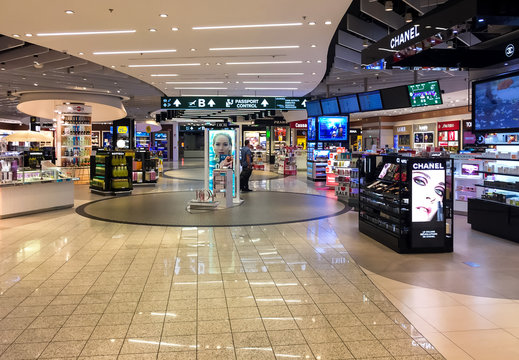 Ferno, Milan-Malpensa, Italy - September 26, 2018: Duty Free Shop, where passengers make purchases before departure in Terminal 1 of Milan Malpensa International Airport.
