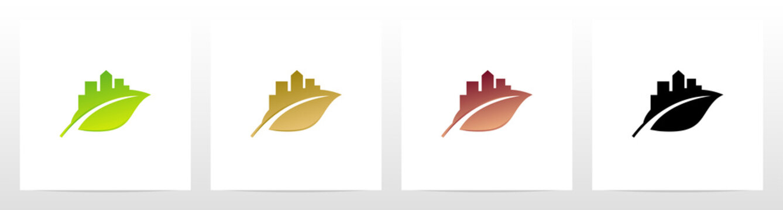 City Skyline Silhouette On A Leaf Logo Design