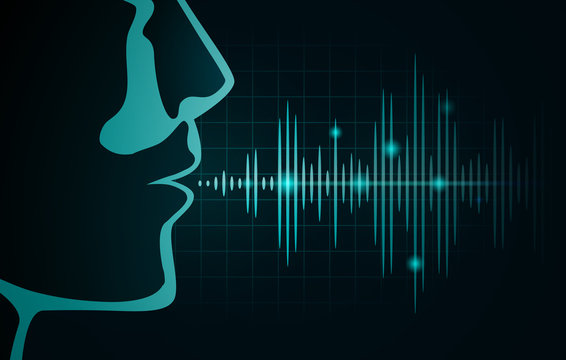 ound wave out of human mouth on black graph. Illustration about level of voice frequency.