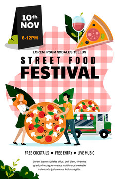 Street food festival poster, banner design template. Vector illustration. Italian food truck and couple with large pizza