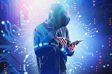 Hacker using tablet, circuit interface