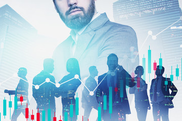 Confident business leader, his team and graph