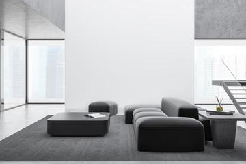 Fototapeta Modern living room with sofa and mock up wall obraz