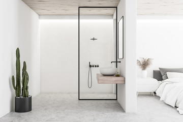 White bedroom interior with bathroom and shower
