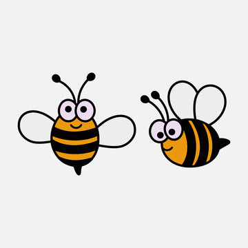 cute baby bee cartoon isolated on white background. illustration vector.