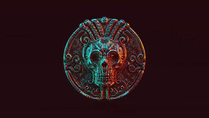 Day of the Dead Antique Silver Skull Coin Dia de los Muertos with Red Orange and Blue Green Moody 80s lighting Front 3d illustration 3d render
