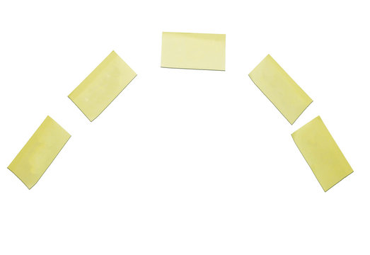Yellow post it notes on a white background, put your own text on them, space for text isolated